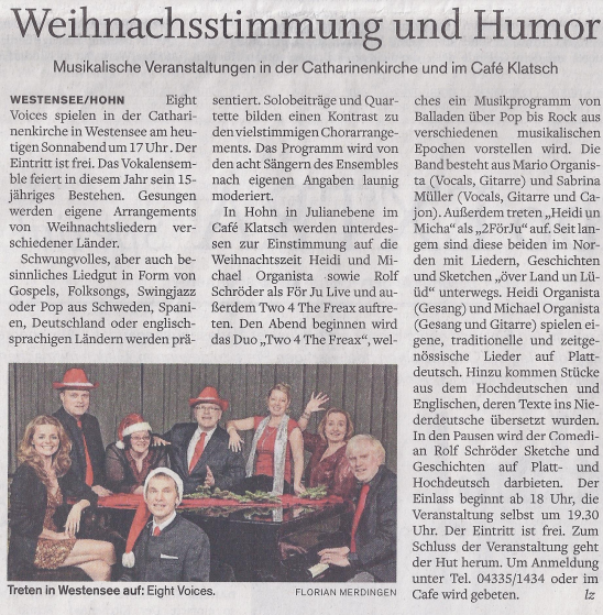 Eight Voices Vorbericht Westensee